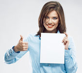 Business woman shows thumb up — Stock Photo