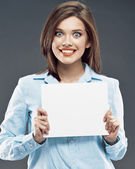 Surprised business woman with board — Stock Photo
