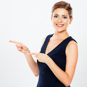 Business woman presenting copy space — Stock Photo
