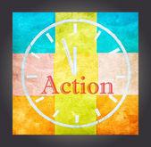 Actie concept, woord en tekening klok — Stockfoto