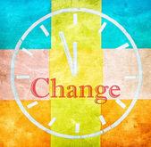 Zmiana koncepcji, słowo i rysunku zegara — Zdjęcie stockowe