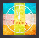 Idag begrepp, ord och ritning klocka — Stockfoto