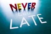 Conceito nunca é tarde demais — Foto Stock