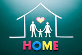 Home word and family in house — Stock Photo