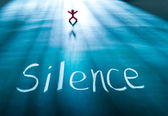 Silence concept, conceptual word on blackboard — Stock Photo