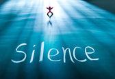 Silence concept, conceptual word on blackboard — Stock Photo