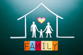 Family word and in house — Stock Photo