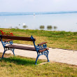 Bench at Lake Balaton,Hungary — Stock Photo