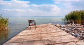 Old angler pier,at Lake Balaton,Hungary — Stock Photo