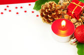 Christmas card with candle — Stock Photo