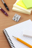 Writing equipment on desk — Stock Photo