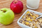 Oat flakes and apple — Stock Photo