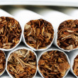 Macro of a pile of cigarettes — Stock Photo