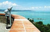 Panorama to Lake Balaton from Tihany Peninsula, Hungary — Stock Photo