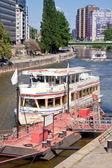 Pier on the river Danube — Stock Photo