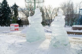 Icy Grandfather Frost and Snegurochka — Stock Photo