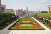 Brussels, view of the lower city from Mountain of Arts — Stock Photo