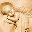 Shortlived sculpture from sand. Little Angel — Stock Photo