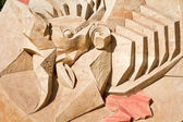 Shortlived sculpture from sand. On an arena — Stock Photo