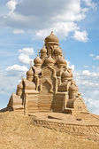 Shortlived sculpture from sand. Church of the Transfiguration — Stock Photo