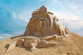 Shortlived sculpture from sand. Australia — Stock Photo