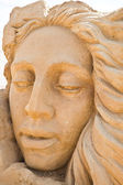 Shortlived sculpture from sand. Faith, Hope and Charity — Stock Photo