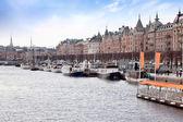 In port of city Stockholm — Stock Photo