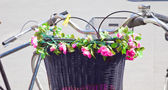 Flowers on bicycle basket — Stock Photo