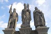 Ancient sculpture on the Charles Bridge. Prague. St. Wenceslas, — Stock Photo