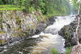 A flat waterfall of Kivach is in Karelia — Photo