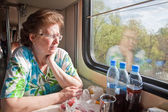 In a railway carriage — Stock Photo