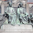 Monument to famous painters Hubert and Jan van Eyck — Stock Photo