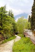 City Yalta, small river Waterfall — Foto Stock