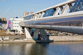 Modern shopping footbridge over the River Moskva — Stock Photo