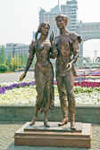 Astana. A sculpture Falling in love — Stock Photo