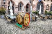 Barrel of beer. Advertising restaurant in Frankfurt am Main  — Stock Photo