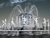 VDNKh, a fountain is Friendship of people. Infra-red photo — Stock Photo