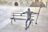 Burgos. Rzeźba pielgrzym na drodze św — Zdjęcie stockowe