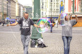 Prague, game with soap bubbles — Stock Photo