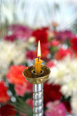 Toplovsky Holy Paraskeevsky convent. A candle is in a chapel  — Stock Photo