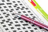Pen and crossword  — Stock Photo