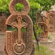 Red khachkar. — Stock Photo