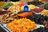 Market stand of dried fruits — Stock Photo