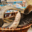Shofar - jewish traditional ram horns on market stand — Stock Photo