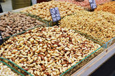 Assortment of nuts on market stand in Israel — Stock Photo