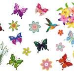 Birds, butterflies and flowers — Stock Vector