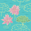 Lotus seamless texture,  style sketch - Stock Vector