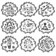 Set of summer black and white sketch style icons - Stock Vector