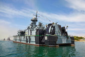 SEVASTOPOL, UKRAINE -- MAY 2013: A modern warship in the parade — Stock Photo