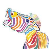 A happy emotional multicolored zebra, vector — Stock Vector